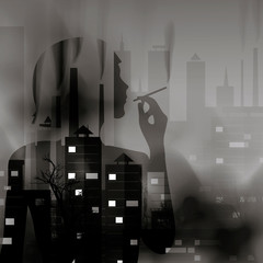 Silhouette of a smoking girl against the background of the city in smog. Environmental and Health Problems