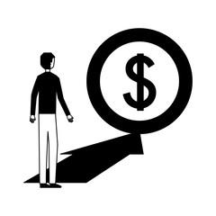 businessman with money coin arrrow