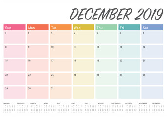 December 2019 desk calendar vector illustration