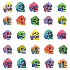 Deurstickers Aquarel Schedel skull watercolor
