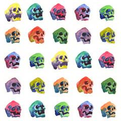 Tuinposter Aquarel Schedel skull watercolor