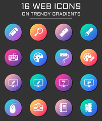 design icon set. design web icons on round trendy gradients
