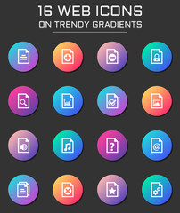 documents icon set. documents web icons on round trendy gradients
