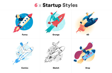 Startup Launch Challenge Illustrations Styles