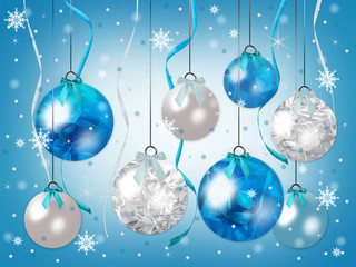 Elegant Christmas background illustration graphic of beautiful blue ornaments hanging with snow falling and faux ribbons streaming downwards.   Gradient blue background.