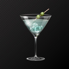 Realistic cocktail martini glass vector illustration on transparent background