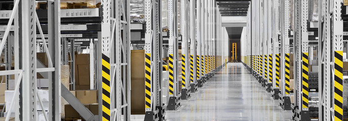 Interior of a large distribution warehouse