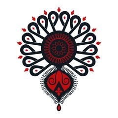Obraz Polski folklor - ciemna parzenica, czarno-czerwony wzór - fototapety do salonu