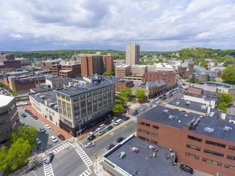 Malden city aerial view on Centre Street in downtown Malden, Massachusetts, USA.