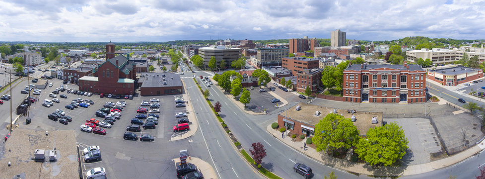 Malden city aerial view panorama on Centre Street in downtown Malden, Massachusetts, USA.