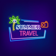Neon banner summer travel