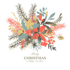 Winter floral watercolor greeting card with branches of holly, flowers and berries