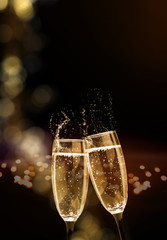 Sparkling wine, champagne, glasses, New Year's Eve, Cheers New Year