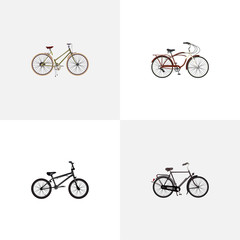 Set of bicycle realistic symbols with dutch velocipede, woman cycle, cruise bicycle and other icons for your web mobile app logo design.