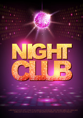 Disco ball background. Disco poster night club. Neon