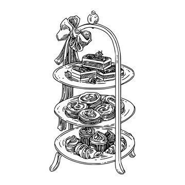 Afternoon tea high stand with sweets. Sketch. Engraving style. Vector illustration.