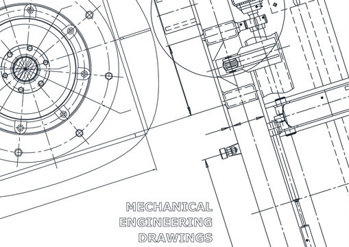 Blueprint. Vector engineering illustration. Cover, flyer, banner, background. Instrument-making drawings. Mechanical engineering drawing. Technical
