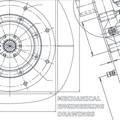 Blueprint. Vector engineering illustration. Cover, flyer, banner, background. Mechanical engineering drawing. Corporate Identity