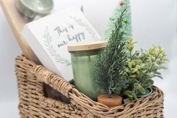 Holiday gift basket with home decor items