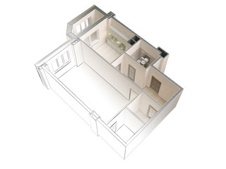 Draft sketch of a modern apartment contrasting with a realistic 3d rendering, top view, isolated