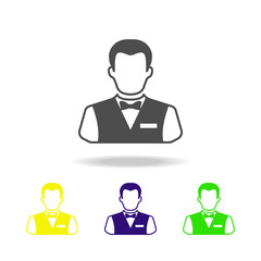 croupier colored icons. Element of casino colored icons. Can be used for web, logo, mobile app, UI, UX