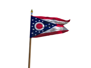 Ohio flag USA flag Isolated Silk waving flag made transparent fabric of Ohio US state with wooden flagpole gold spear on white background isolate real foto 3d illustration