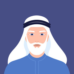 Portrait of an elderly Arab man with a beard. Retiree. Grandfather in national clothes and a headdress. Vector flat illustration