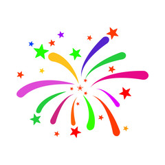 Fireworks vector illustration. A flat illustration iconic design of Fireworks on a white background.