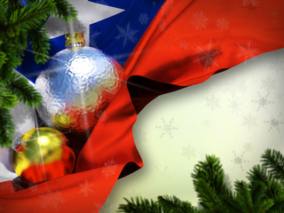 Chile flag Happy New Year  Merry Christmas celebrate holiday mood Silk fabric with christmas tree toy ball inside winter green stripes background with fall snowflakes Gold Silver toys 3d render