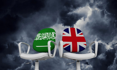 Saudi Arabia and Great Britain business chairs. Internationl relationship concept. 3D Rendering