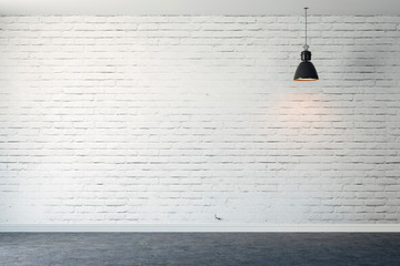 3d room with white brick wall and ceiling lamp Wall mural