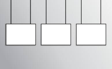 Posters mockup black frame in A4 size landscape orientation