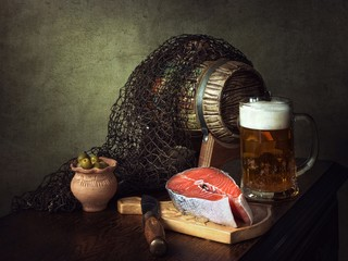 Still life with salmon and beer