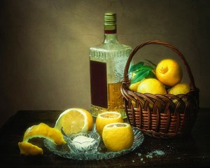 Still life with lemons and tequila