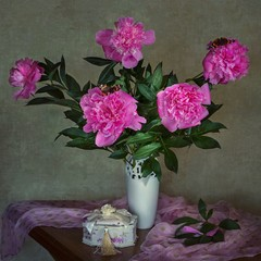 Still life with bouquet of pink peonies