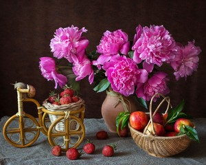 Still life with bouquet of pink peonies and fruits