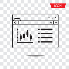 Trade and Investment chart. Stock exchange, Candlestick graph and Diagrams in Browser icon vector isolated on white background