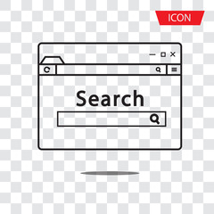 Browser search icon vector isolated on white background