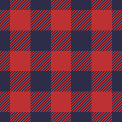 Seamless plaid pattern in dark blue and red stripes.