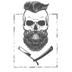 Barber shop skull illustration