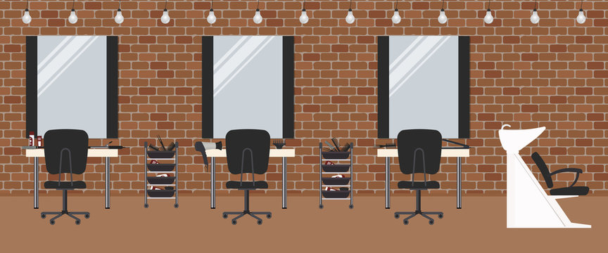 Hair salon with a brick wall. Beauty salon. There are tables, chairs, a bath for washing the hair, mirrors, hair dryer and lamps in the image. Vector illustration