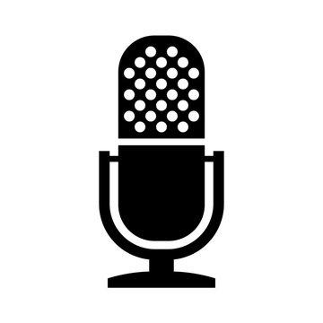 Vintage microphone vector icon
