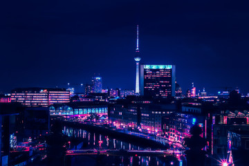 Wall Murals Berlin Berlin skyline in the night