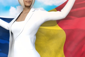 pretty business woman holds Romania flag in hands behind her back on the blue sky background - flag concept 3d illustration