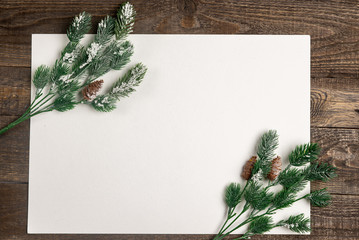 mock up fir branches on a sheet of paper