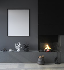 Mock up poster frame in dark interior background with fireplace, 3d render