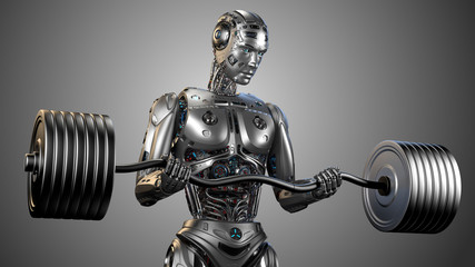 Futuristic robot man working out with barbell. Very strong cyborg lifting heavy weights or training his muscles. Isolated on grey background. 3d Illustration.