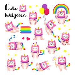 Cute cartoon vector doodle cats