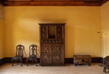 Yellow Wall With Fine Furniture, Sao Martinho Monastery, Tibaes, Portugal