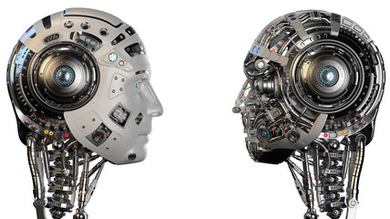 Robot Faces or two futuristic cyborg heads looking at each other. Isolated on white background. 3D Render.